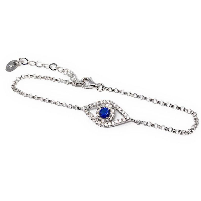 87025c26e Evil Eye Chain Bracelet Silver and Cubic Zirconia Stones | Etsy