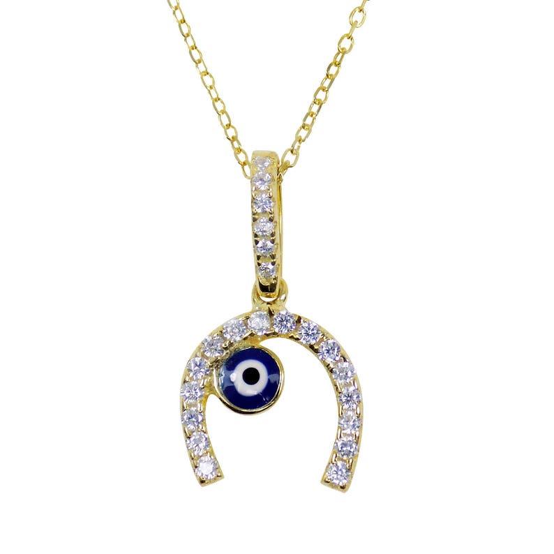 610a1474b2af0c Horseshoe lucky Amulet Pendant Charm Necklace Evil Eye   Etsy
