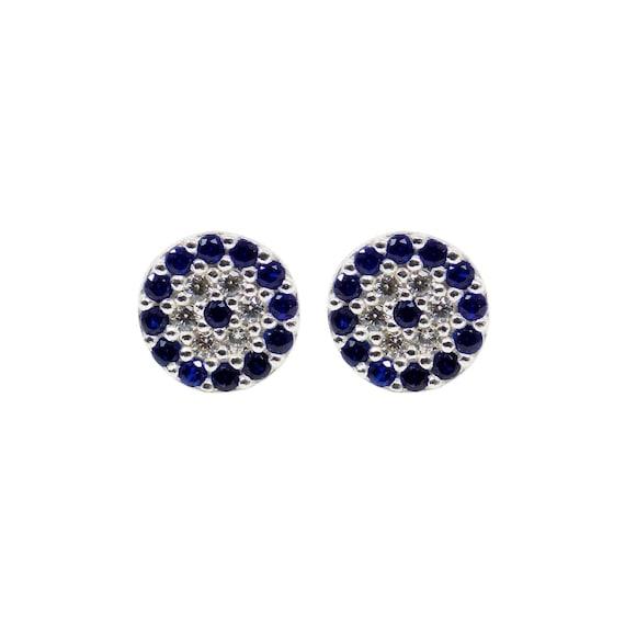 83be68553 Evil Eye Earrings Round Evil Eye 925 Sterling Silver Stud | Etsy
