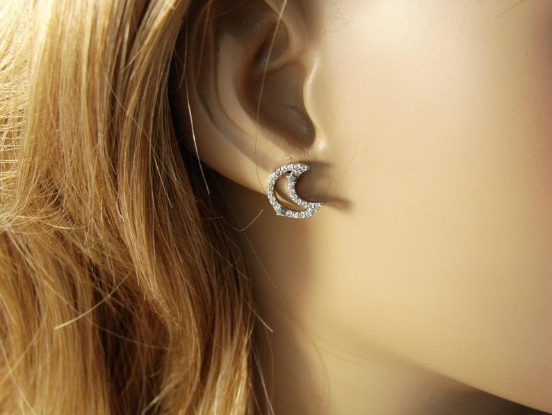 459000e4c Moon Earrings and Star CZ. Crescent Half Moon Stud Earrings   Etsy