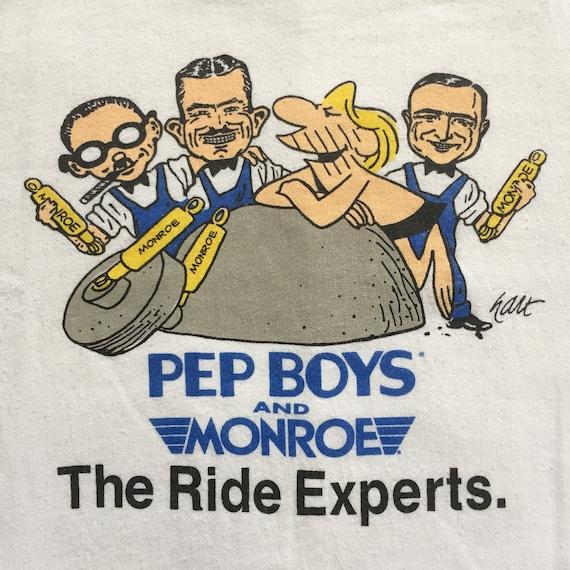 Vintage PEP BOYS Tshirt White Paperthin 60s 70s Sm