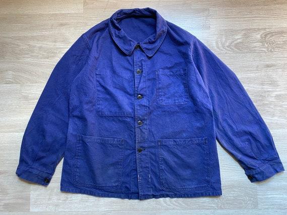 "Pit23"" 60s FRENCH INDIGO Cotton Work Jacket Vintag"