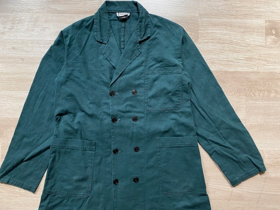 S M Utility Duster Chore Shop Coat Vintage Gray German Duster Coat Work Jacket Artist Smock
