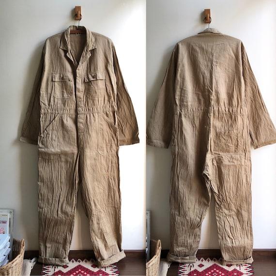 Vintage 60s Belgian Khaki Cotton Work Coveralls Bo