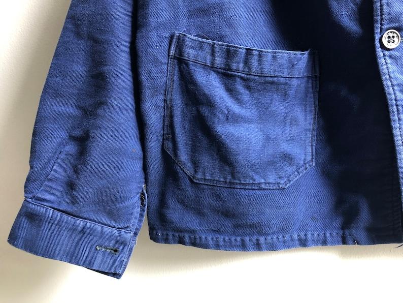 RARE Vintage 1940s French Indigo Work Jacket Antique Workwear