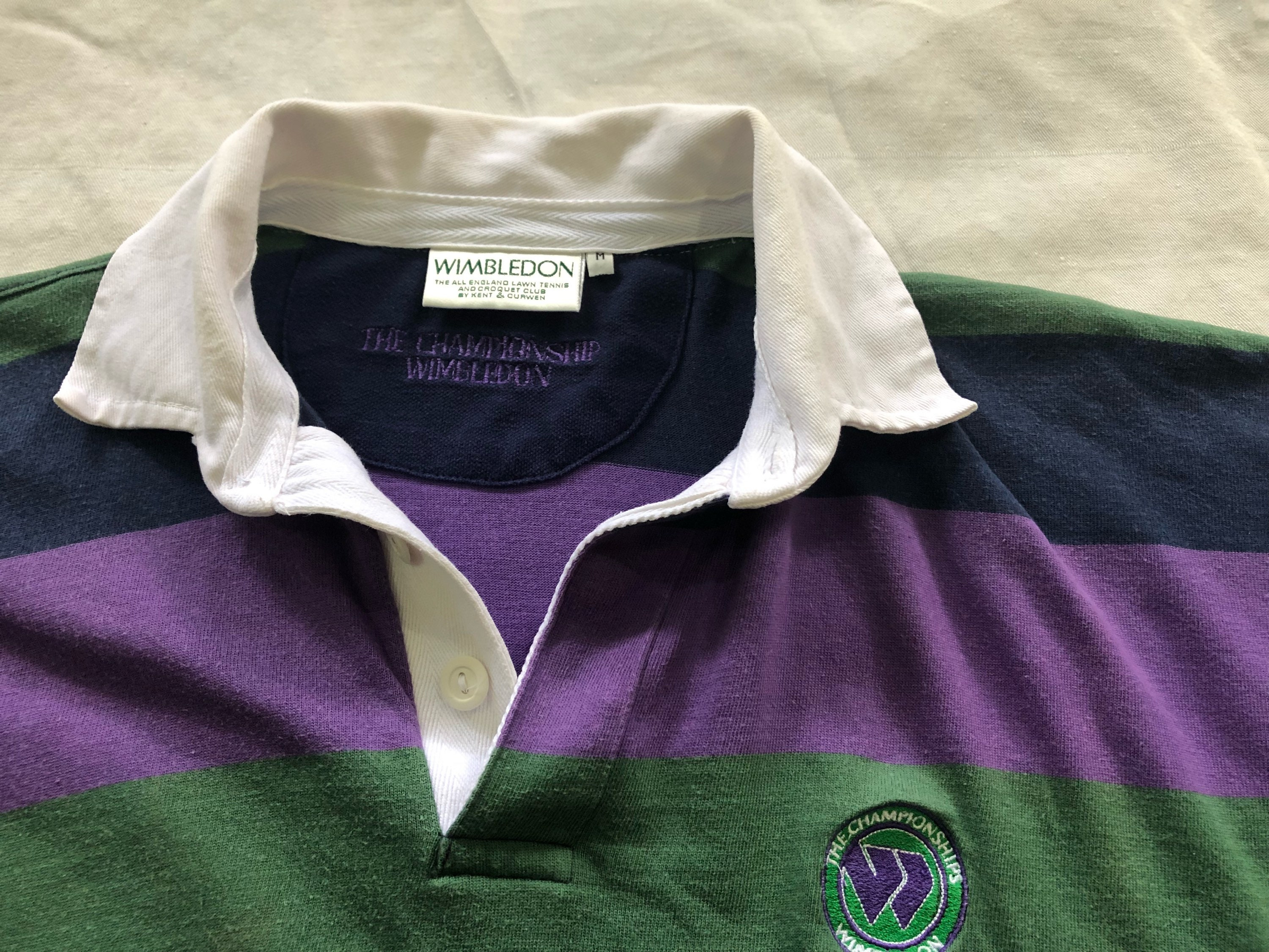 90s Border Stripe Rugby Polo Shirt Wimbledon Patch Made In Etsy