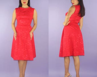 FRAMBOISE... vintage 1950's Suzy Perette John Derro berry red floral damask chic new look dress