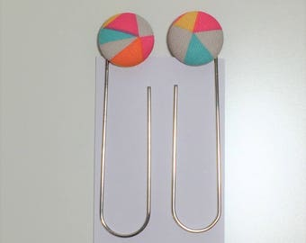 Fabric Button Bookmarks |  Paperclips - Multi-coloured geometric pattern - fabric covered buttons (Set of 2)