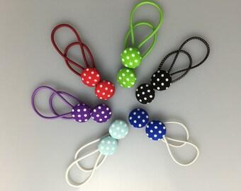 Fabric Covered Buttons - Polka Dot Hair Elastics