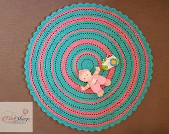 110cm Rug | Handmade Crochet Doily Rug | Crochet Rug | Round Rug | 43inches Rug