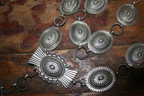 Navajo Sterling Silver Concho Belt