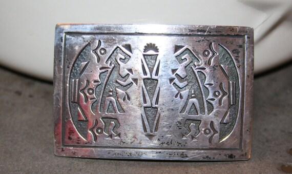 Sterling Silver Overlay Method Kokopelli Figures Vintage Belt Buckle Artist Signed WW Sterling