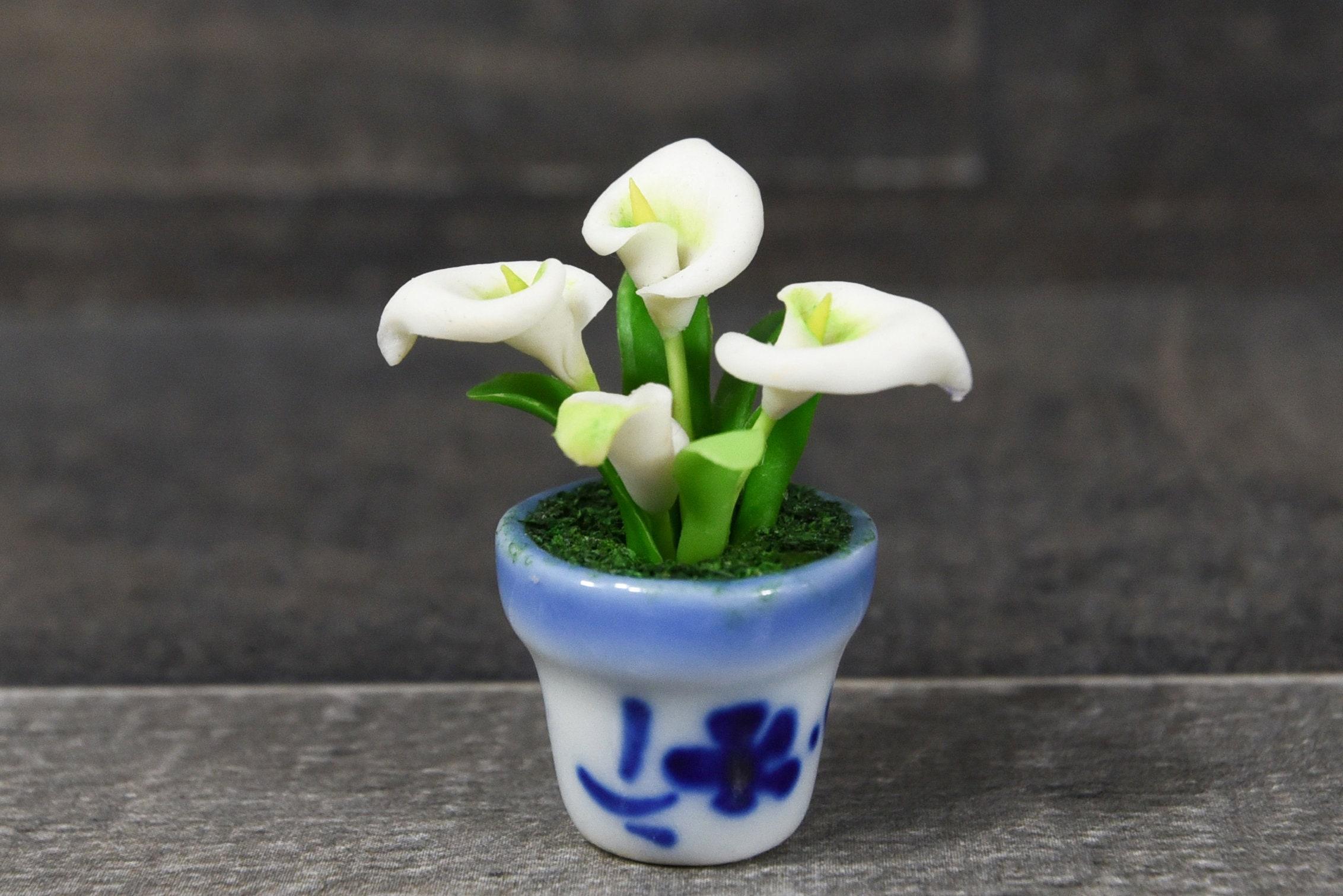 Miniature clay flowers art handmade tiny white cala lily cute etsy zoom izmirmasajfo