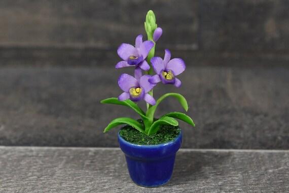 Purple Flower Miniature Cymbidium Orchid Handmade Clay Plant Dollhouse Decor
