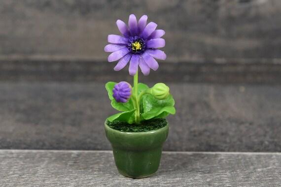 Dollhouse Miniature Flower Set 7 Gerbera Clay Plant Handcraft Garden Decor