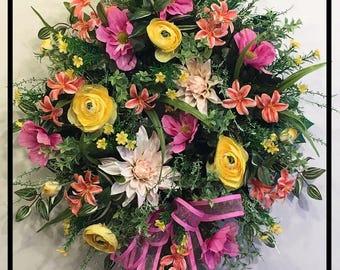 Spring Wreath Front Door Wreath, Spring Summer Wreath For Door, Silk Flower Wreath, Floral Door Wreath, Summer Door Wreath, Front Door Decor