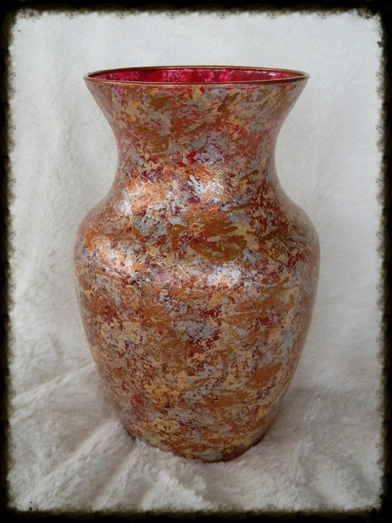 Hand Painted Vase Glass Centerpiece Gift For Her