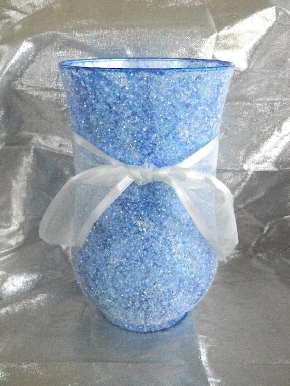 Decorative Vases Large Glass Vase Housewarming Gift Blue Etsy