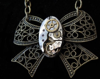 Steampunk necklace RIBBON filigree antique mechanism (A349)
