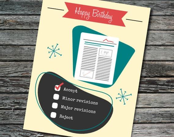 Nerdy Science Birthday Card Peer Reviewer
