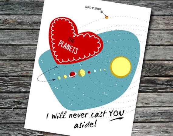 Planet Pluto Space Valentine Nerdy Retro Valentine S Day Card