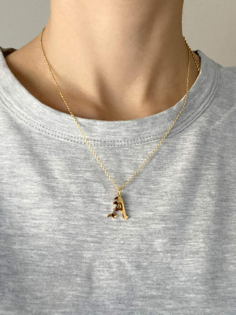 Gold Old English Necklace Old English Gothic Gold Old English Initial Necklace Gothic Font Initial Necklace Gold Gothic Initial Necklace