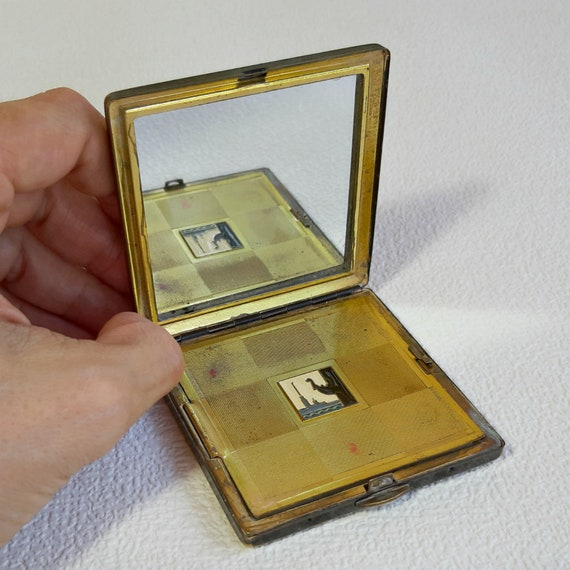 Refillable Powder Box with a Mirror Vanity Mirror Gift for Her. Vintage Brass Powder Compact Made in USSR Collectible Mirrored Compact