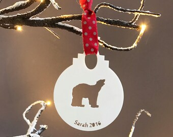 Personalised Polar Bear Christmas Decoration-Personalised Polar Bear Bauble-Personalised Holiday Decorations-Personalised Bauble