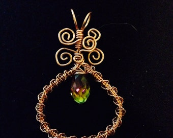 Copper and faceted glass teardrop pendant