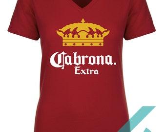 66871e7cfe211 Corona Shirt - Cabrona Extra T-shirt - Beer Shirt - Funny Tee - V-Neck -  Crew Neck - Lady Shirts - Glitter - T-shirts