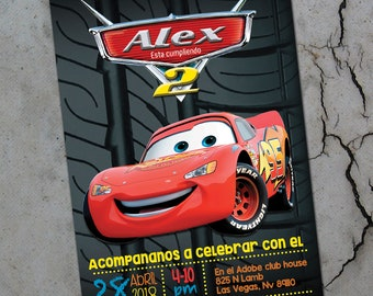 Tire mark / Cars / Mcqueen  /  Birthday Printable Invitation