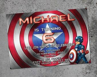 Captain America Marvel Birthday Printable Invitation