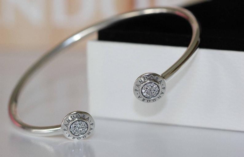 e6430a1f639 Authentic Genuine Pandora Signature Open Bangle Bracelet 19 cm 590528CZ-3  Hallmarked ALE S925