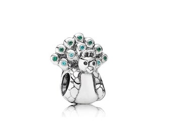 Authentic Genuine Pandora Pretty as a Peacock Silver and Cubic Zirconia Charm Retired Pandora code 791227MCZ Hallmarked S925 ALE