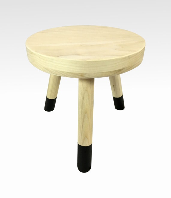 Marvelous Small Wood Three Legged Stool Modern Plant Stand In Pale Black By Candlewood Furniture Wooden Tea Table Kids Chair Decorative Forskolin Free Trial Chair Design Images Forskolin Free Trialorg