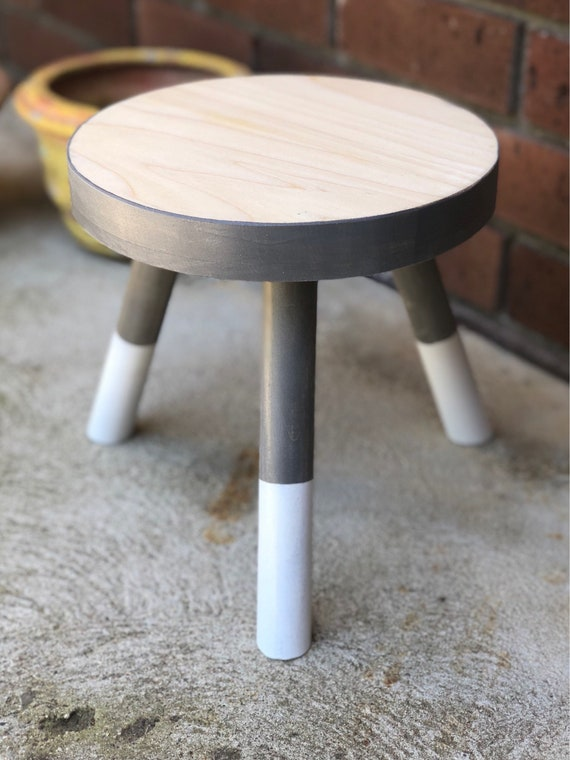 Brilliant Small Wood Three Legged Stool Modern Plant Stand In Ash White By Candlewood Furniture Wooden Tea Table Kids Chair Decorative Squirreltailoven Fun Painted Chair Ideas Images Squirreltailovenorg