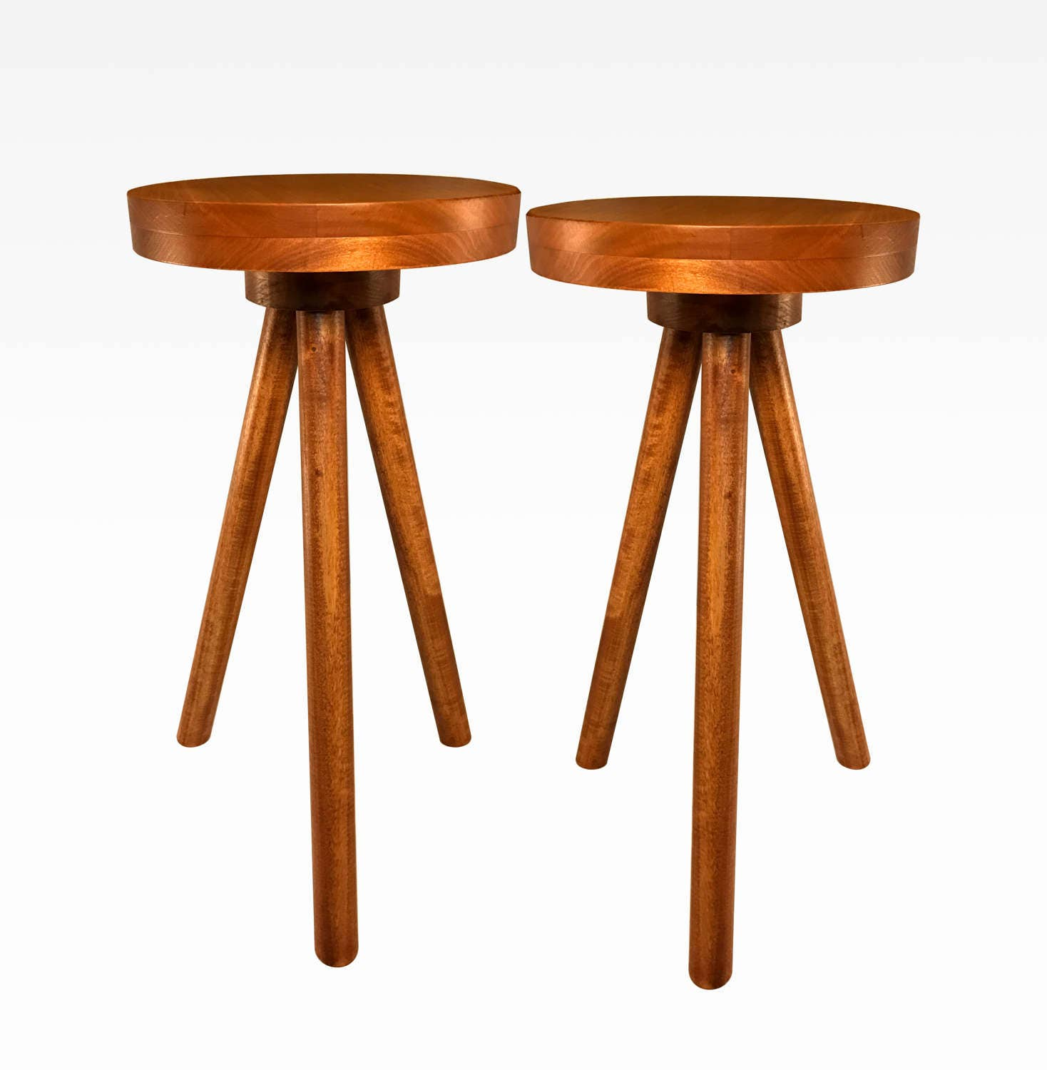 Side Table End Table Round Wood Stool By Cw Furniture Set Of Two In Cherry Custom Handmade Barstool Bar Set Modern Three Legged Nightstand