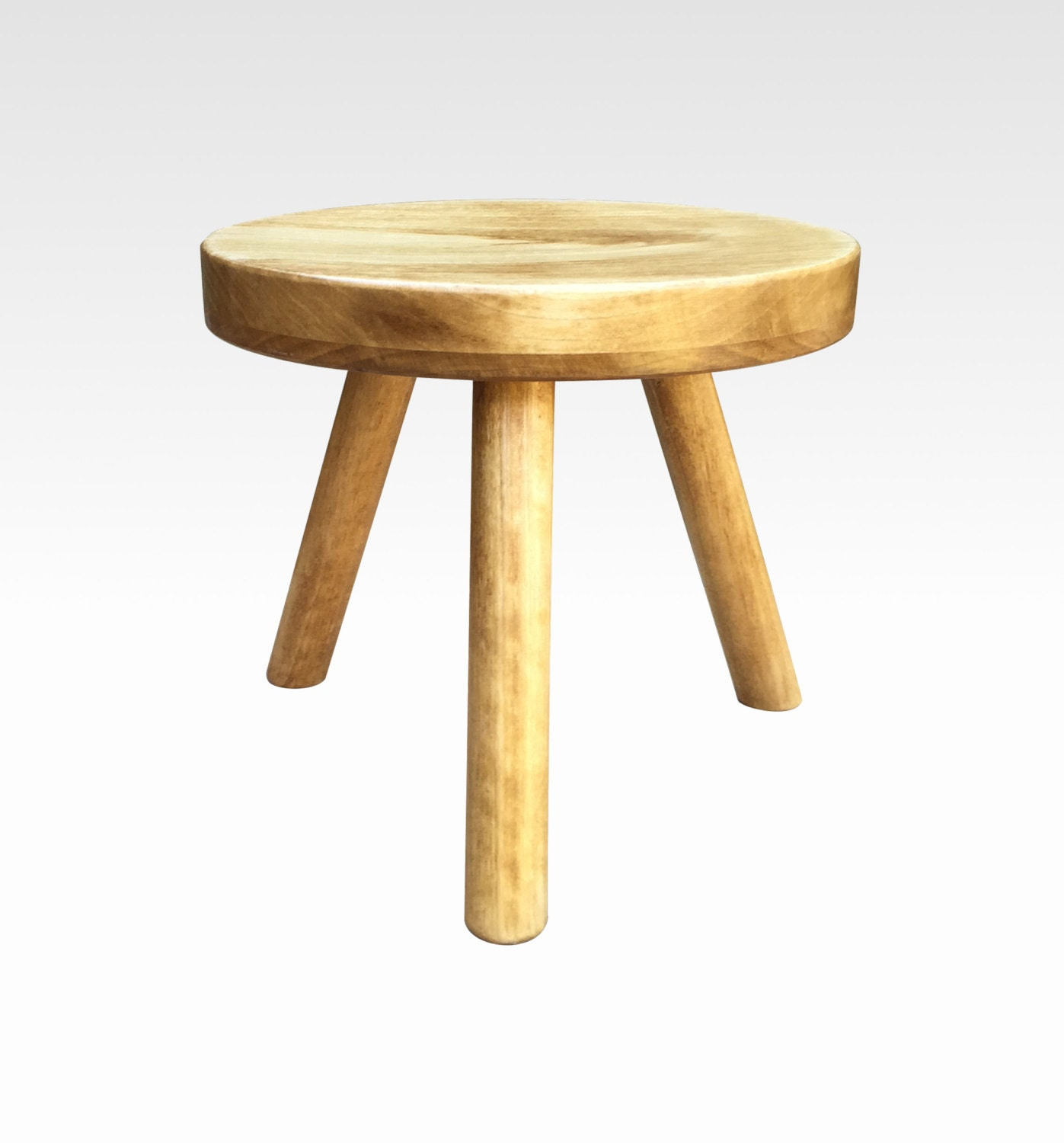 Small Wood Three Legged Stool Modern Plant Stand In Honey