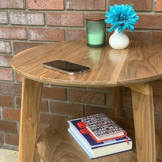 Side Table Wood Modern with Shelf by CW Furniture Nightstand End Table Accent Maple Walnut Oak Birch Custom Handmade Minimalist Living Room Bedroom