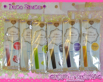 Padico Deco Sauce - Chocolate Strawberry Red Kiwi Green Mango Yellow Clear Blueberry Blue Japan Decollage for Fake Icing Sweets & Charms