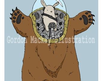 Bunny and Bear Robot Illustration Print
