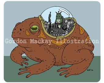 Bug and Toad Robot Illustration Print
