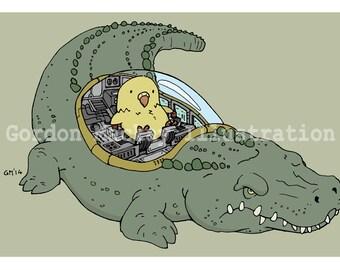 Chick and Crocodile Robot Illustration Print