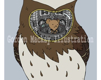 Mouse and Owl Robot Illustration Print