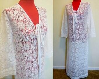 302a9de220 Vintage Tunic Dress 1970s David Brown for Sakowitz White Lace Bogemian Robe  Hippie Boho