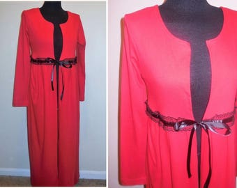 bdf045fef1 Duster Cardigan Medium Size Cotton Red Long Sleeve Long Jacket Knit Coat