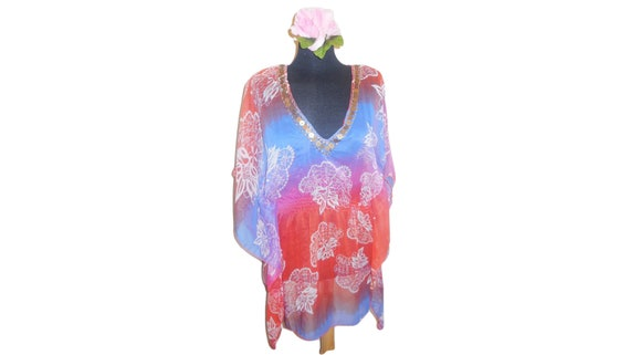 Tunic Blouse Sheer Chiffon Floral Sheer Summer Top
