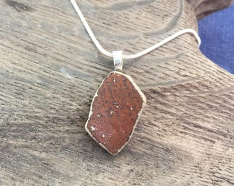 Natural Ocean-Tumbled Pottery Shard Pendant, Monhegan Island Sea Pottery Necklace