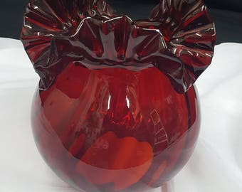 Red glass lamp shade etsy ruby red glass lamp shade with ruffled brim mozeypictures Gallery