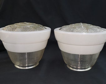 Pair of  Cone Shaped White Opaque and Clear Pendant Light Shades